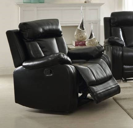 Isidro Black Gray Faux Leather Wood Metal Motion Recliners ACM-ISIDRO-REC-VAR