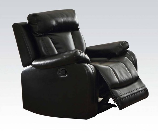 Isidro Black Faux Leather Wood Metal Motion Recliner ACM-52257
