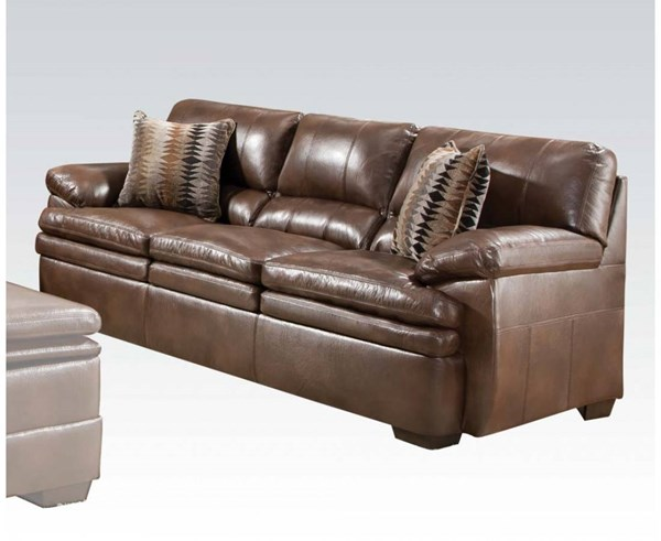 Devin Brown Bonded Leather Wood Sofa w/2 Pillows ACM-52310