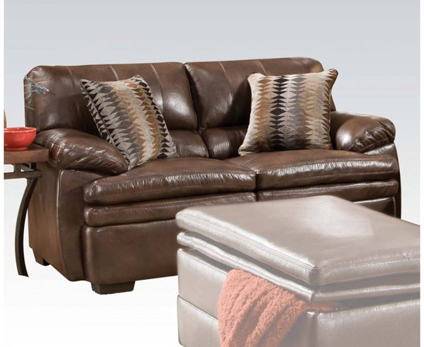 Devin Brown Bonded Leather Wood Loveseat w/2 Pillows ACM-52311