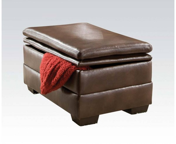 Devin Brown Bonded Leather Wood Storage Ottoman ACM-52313