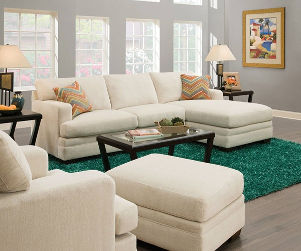 Norell Cream Fabric Wood Sectional Sofa w/2 Pillows ACM-52315
