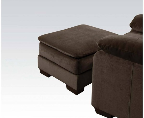 Felisha Chocolate Wood Tight Seat Cushion Ottoman ACM-52338