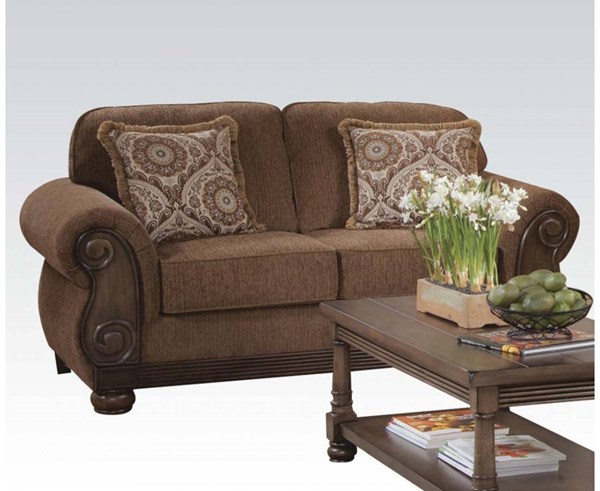 Emiko Fabric Wood Tight Back & Loose Seat Loveseat w/2 Pillows ACM-52356