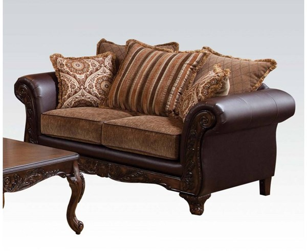 Fairfax Chocolate Bonded Leather Fabric Wood Loveseat ACM-52366