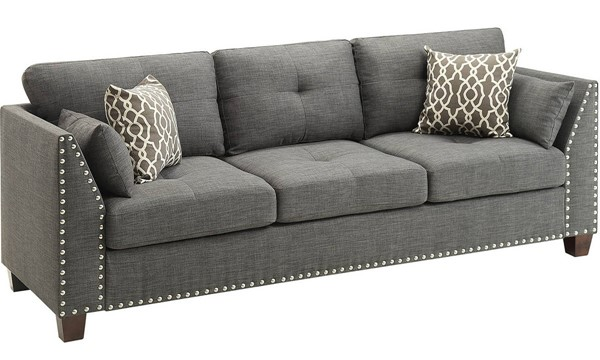 Acme Furniture Laurissa Light Charcoal Sofa with 4 Pillows ACM-52405