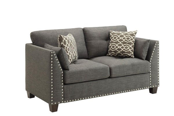 Acme Furniture Lourissa Light Charcoal Loveseat With 4 Pillows ACM-52406