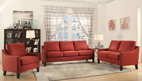 Zapata Contemporary Red Fabric Wood 3pc Living Room Set ACM-524-LR-S1