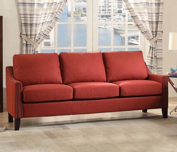 Zapata Contemporary Red Fabric Wood Sofa ACM-52490