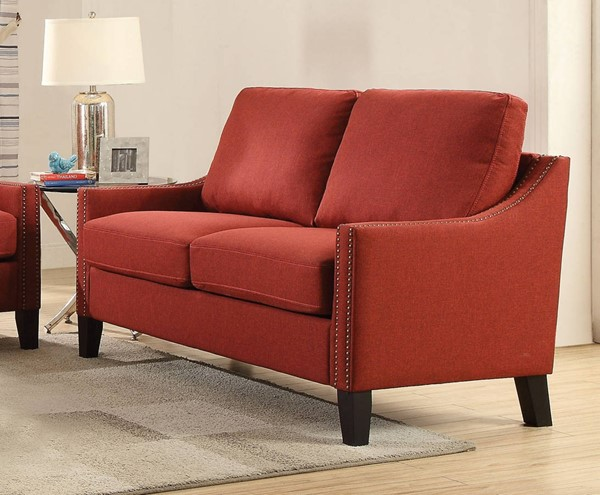 Zapata Contemporary Red Fabric Wood Loveseat ACM-52491