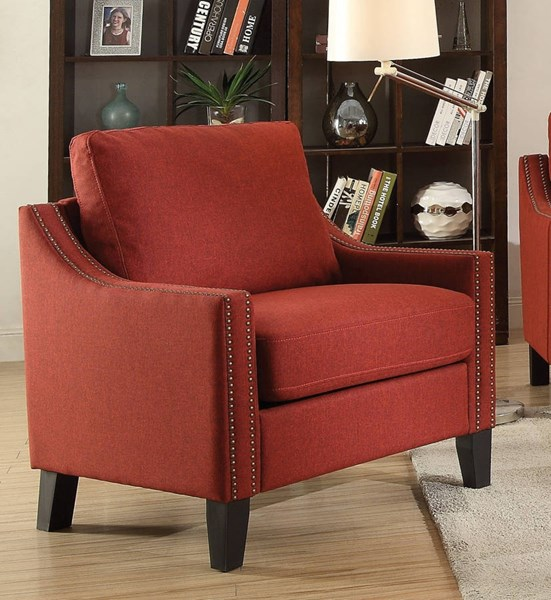Zapata Contemporary Red Brown Gray Blue Fabric Wood Chairs ACM-524-CH-VAR