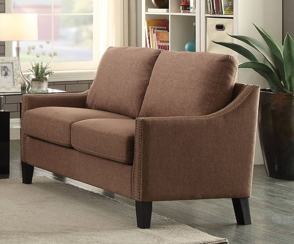 Zapata Contemporary Brown Fabric Wood Loveseat ACM-52496
