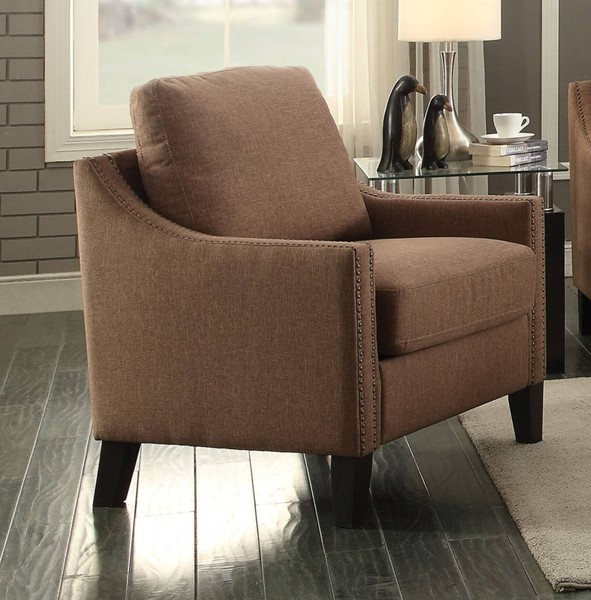 Zapata Contemporary Brown Fabric Wood Chair ACM-52497