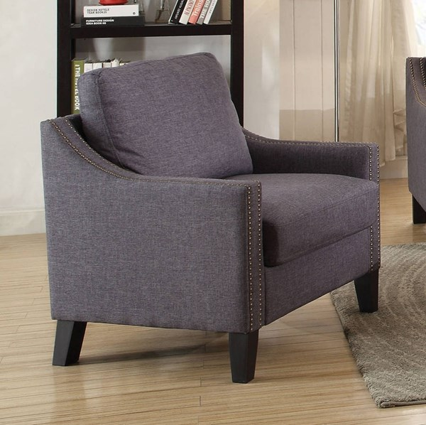 Zapata Contemporary Gray Fabric Wood Chair ACM-52502