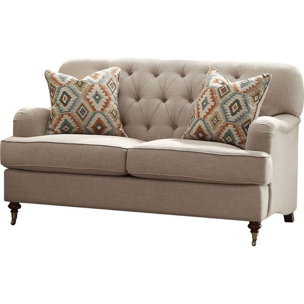 Acme Furniture Alianza Beige Two Pillows Loveseat ACM-52581