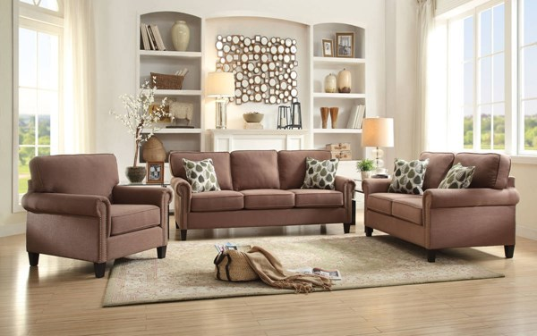 Felise Contemporary Light Brown Fabric Wood 3pc Living Room Set ACM-5259-LR-S1