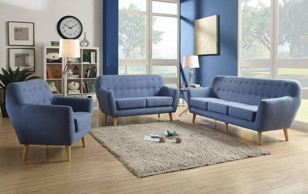 Ngaio Contemporary Blue Linen Foam Pine Wood 3pc Living Room Set ACM-5265-LR-S1