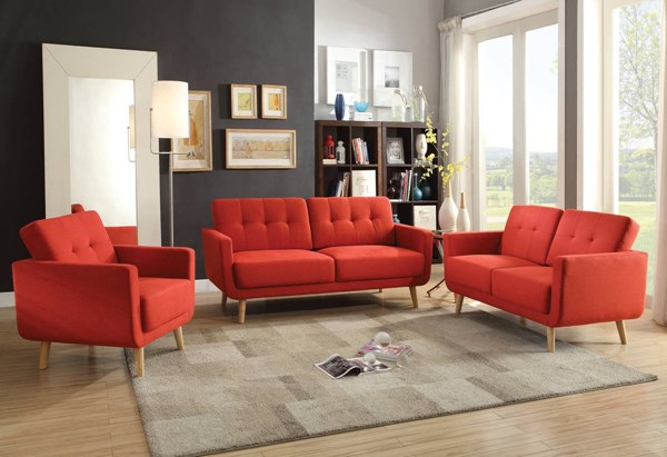 Sisilla Contemporary Red Linen Pine Wood 3pc Living Room Set ACM-5266-LR-S1