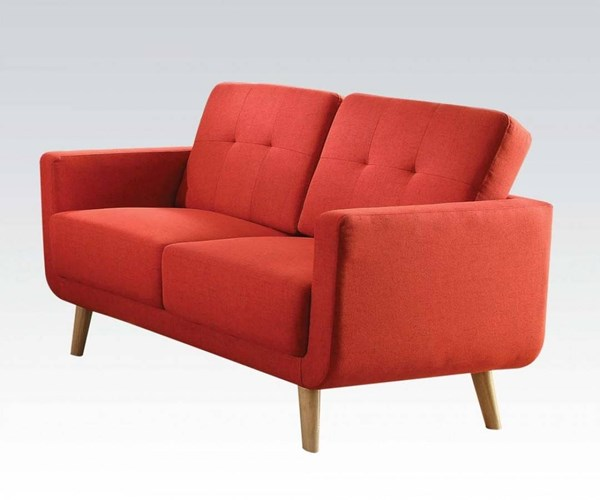 Sisilla Contemporary Red Linen Pine Wood Loveseat ACM-52661