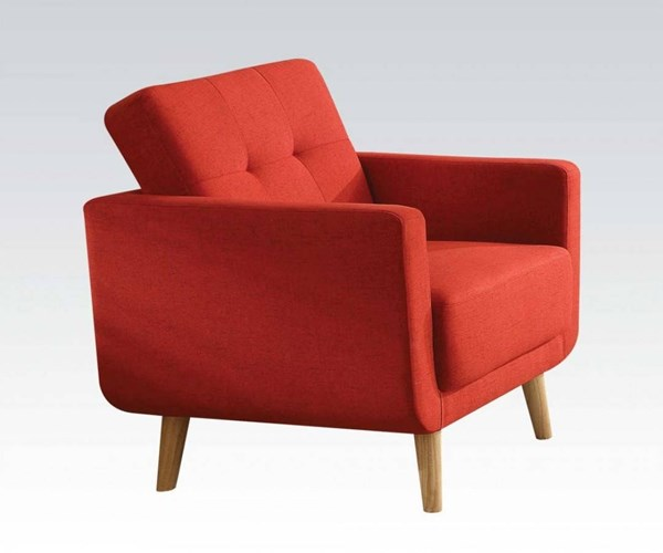 Sisilla Contemporary Red Linen Pine Wood Chair ACM-52662
