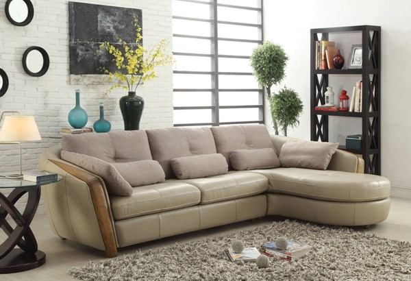 Wilko Modern Taupe Sectional Sofa w/Pillows ACM-52675
