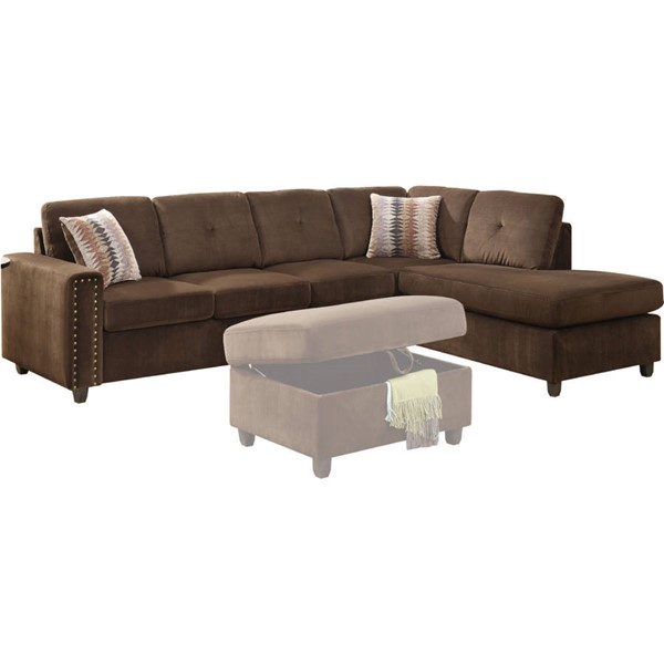 Acme Furniture Belville Chocolate Pillows and Reversible Sectional Sofa ACM-52700