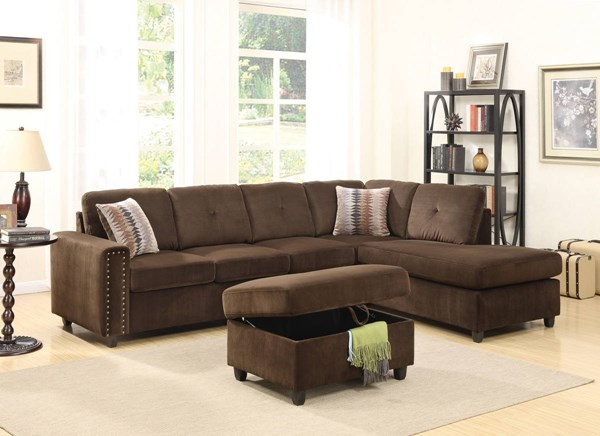 Acme Furniture Belville Sectional Sofas with Storage Ottoman ACM-52700-CHO-VAR