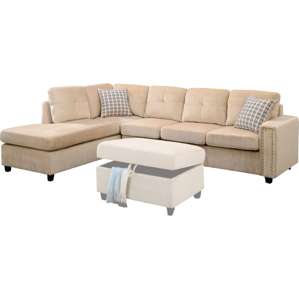 Acme Furniture Belville Beige Reversible Sectional Sofa with Pillows ACM-52705