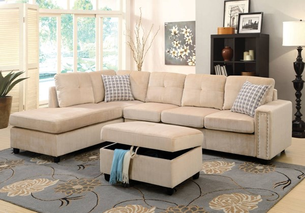 Belville Contemporary Beige Velvet Wood Sectional Sofa w/Pillows ACM-52705
