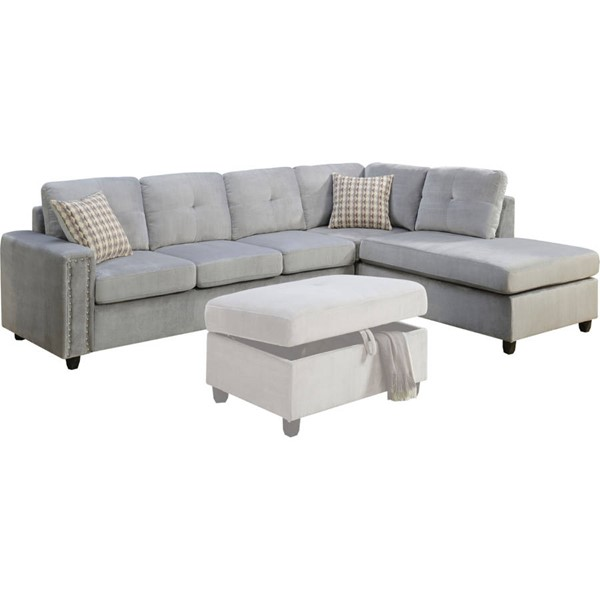 Acme Furniture Belville Gray Reversible Sectional Sofa with Pillows ACM-52710