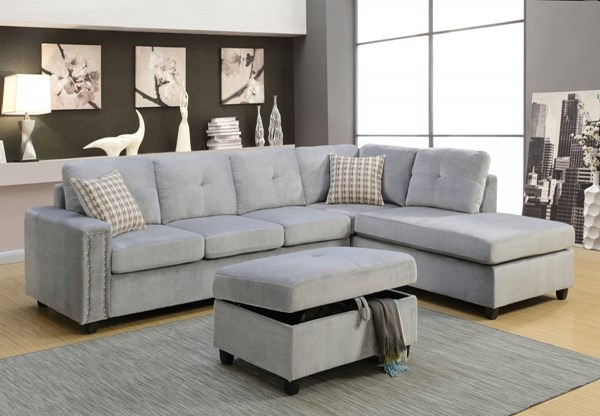 Belville Contemporary Gray Velvet Wood Sectional Sofa w/Pillows ACM-52710