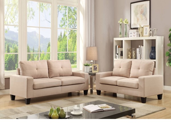 Platinum II Classic Beige Linen Fabric Wood Sofa & Loveseat Set ACM-52740