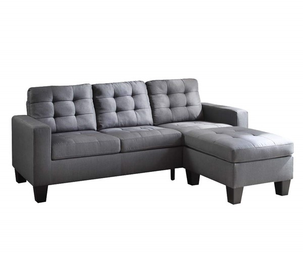 Acme Furniture Earsom Gray Reversible Ottoman Sectional Sofa ACM-52775