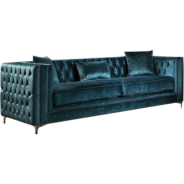 Acme Furniture Gillian Dark Teal Sofa with Three Pillows ACM-52790