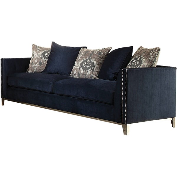 Acme Furniture Phaedra Blue Sofa with Five Pillows ACM-52830
