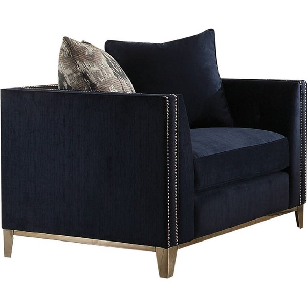 Acme Furniture Phaedra Blue Chair with Two Pillows ACM-52832