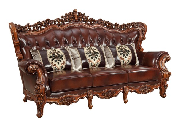 Acme Furniture Eustoma Cherry Sofa ACM-53065