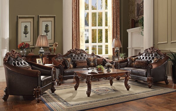 Vendome II Traditional Brown Cherry PU Wood MDF 3pc Living Room Set ACM-531-LR-S2