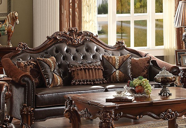 Acme Furniture Vendome II Dark Brown Sofa with Five Pillows ACM-53130