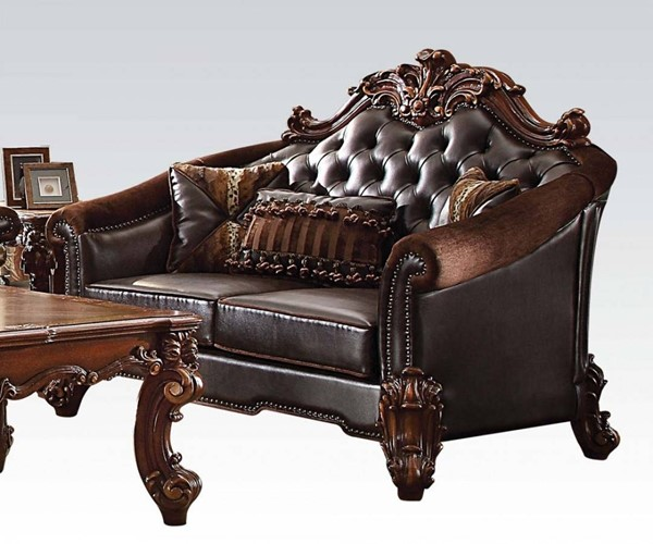 Vendome II Traditional Brown Cherry PU Wood MDF Loveseat w/Pillows ACM-53131