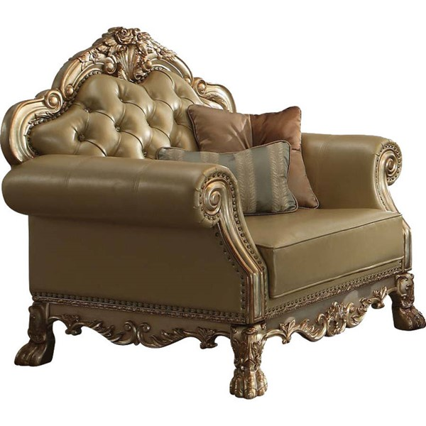 Acme Furniture Dresden Gold Patina Two Pillows Chair ACM-53162