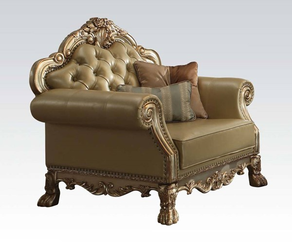 Dresden Traditional Gold Patina PU Wood Chair w/2 Pillows ACM-53162