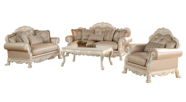 Dresden Traditional Antique White PU Fabric Wood 3pc Living Room Sets ACM-5326-LR-S1