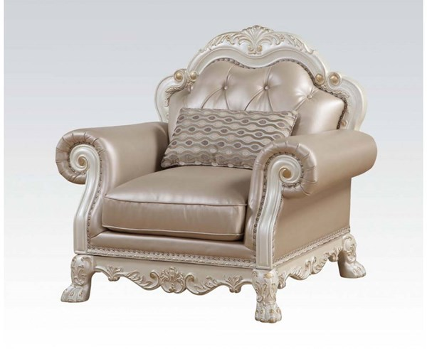 Dresden Traditional Antique White PU Fabric Wood Chair w/1 Pillow ACM-53262