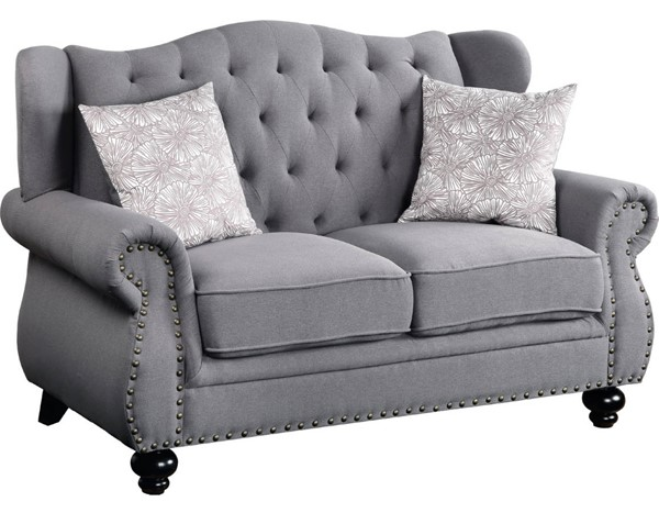 Acme Furniture Hannes Gray Loveseat with 2 Pillows ACM-53281