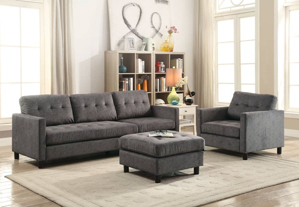 Acme Furniture Ceasar Gray Sectional Sofa with Ottoman ACM-53315