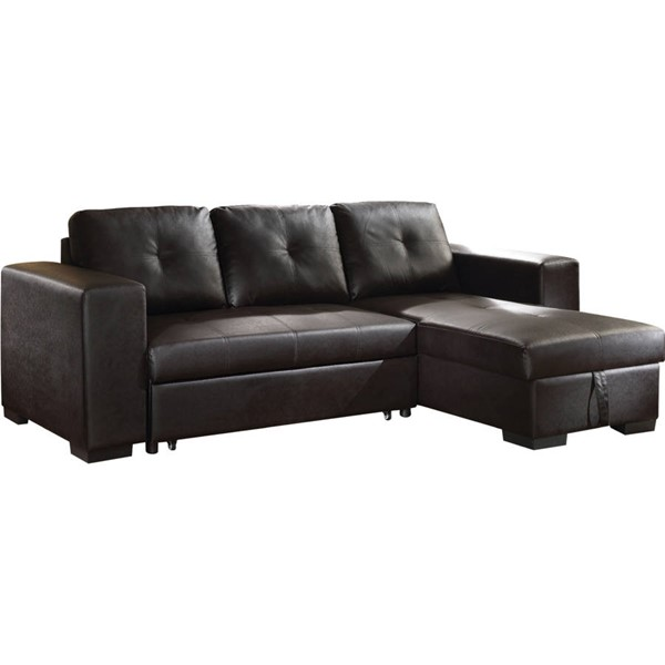 Acme Furniture Lloyd Black Sectional Sofa with Sleeper ACM-53345
