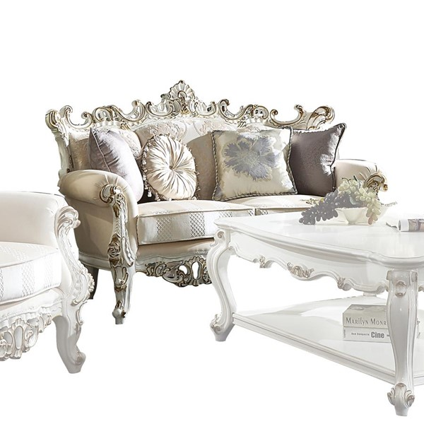 Acme Furniture Picardy II Antique Pearl Loveseat With 4 Pillows ACM-53461