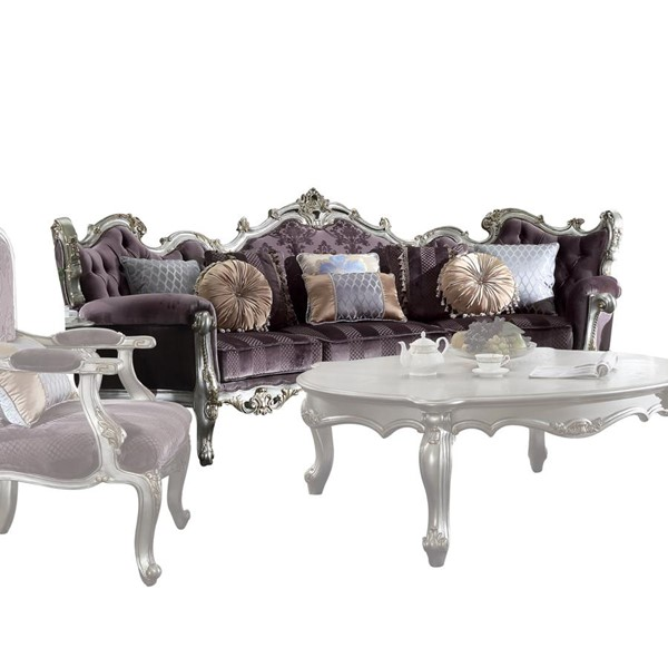 Acme Furniture Picardy Antique Platinum Sofa with 8 Pillows ACM-53465