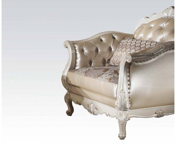Acme Furniture Chantelle Rose Gold Pearl White One Pillow Chair ACM-53542